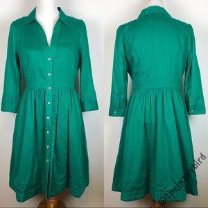 Anthro Moulinette Soeurs Green Reed Shirt Dress